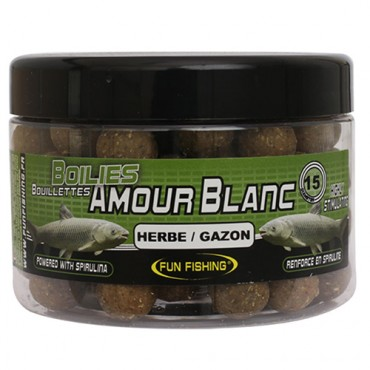 FUN FISHING AMOUR BLANC HERBE GAZON BOILIES 18 MM (300 GR)