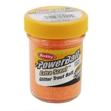 BERKLEY POWERBAIT TROUT BAIT FLUORESCENT ORANGE/GLITTER QUESO (50g)